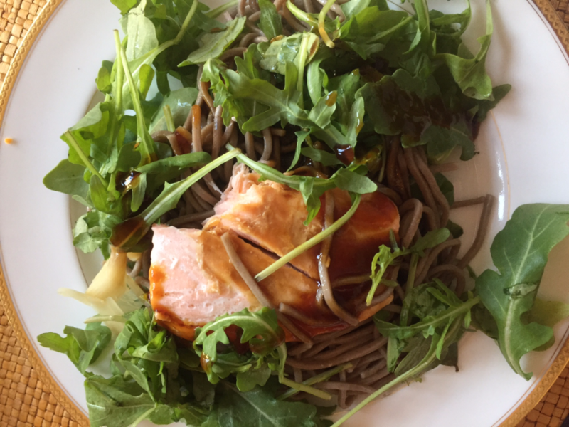 Salmon arugula and noodles